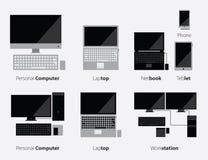 Комплект значка компьютера и устройств в плоском дизайне Стоковое Фото