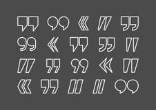 Комплект значка конспекта вектора меток цитаты Стоковая Фотография RF