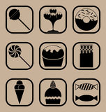 Комплект значка конфеты Стоковые Изображения