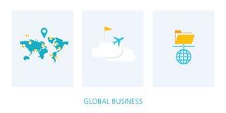 Комплект значка концепции глобального бизнеса Стоковые Изображения RF