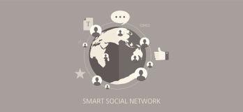 Комплект значка концепции современной и классической социальной сети плоский Стоковые Изображения RF