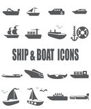 Комплект значка корабля и шлюпки плоский Стоковая Фотография RF