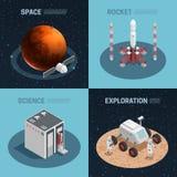 Комплект значка космоса Ракеты равновеликий иллюстрация вектора