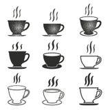Комплект значка кофейной чашки Стоковое Изображение