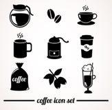 Комплект значка кофе Стоковые Изображения