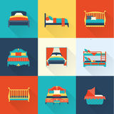 Комплект значка кровати вектора Стоковые Фото
