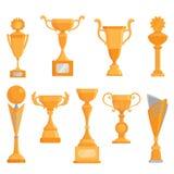 Комплект значка кубка вектора плоский золотой в плоском стиле Награда победителя золотистый трофей Стоковое Фото