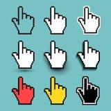 Комплект значка курсора руки также вектор иллюстрации притяжки corel Плоский дизайн Изолированный на предпосылке бирюзы Стоковые Изображения RF