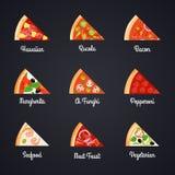 Комплект значка кусков пиццы Стоковая Фотография