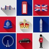 Комплект значка Лондона плоский Стоковая Фотография