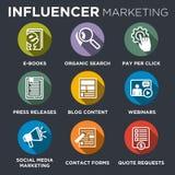 Комплект значка маркетинга Influencer иллюстрация штока