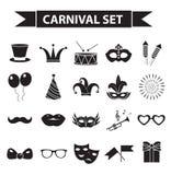 Комплект значка масленицы, черный стиль силуэта Party, собрание masquerade подписывает, символы, на белой предпосылке Стоковые Фотографии RF