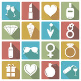 Комплект значка Международного женского дня также вектор иллюстрации притяжки corel Стоковое Изображение