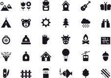 Комплект значка мероприятий на свежем воздухе Стоковое Фото