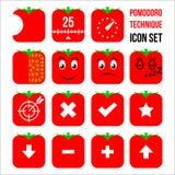 Комплект значка метода Pomodoro Стоковое Изображение RF