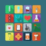 Комплект значка медицины плоский Стоковая Фотография