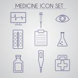 Комплект значка медицины сделанный в линии векторе стиля Стоковые Фотографии RF