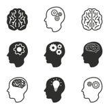Комплект значка мозга Стоковое Изображение