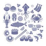 Комплект значка морепродуктов Стоковое Изображение
