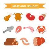 Комплект значка мяса и морепродуктов, плоский стиль Комплект мяса и рыб изолированный на белой предпосылке Мясо и сосиска, еда пр бесплатная иллюстрация