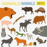 Комплект значка млекопитающих животных Стиль вектора плоский Стоковое Фото