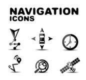 Комплект значка навигации лоснистый черный Стоковое Изображение RF