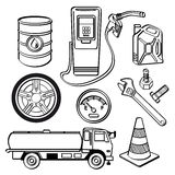 Комплект значка нефтедобывающей промышленности Стоковое Изображение RF