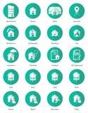 Комплект значка недвижимости в плоском дизайне Стоковое Изображение RF