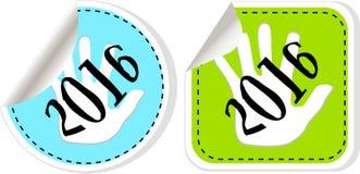 комплект 2016 значка Нового Года Новые Годы дизайна символа первоначально современного для сети и передвижного app Стоковые Фото