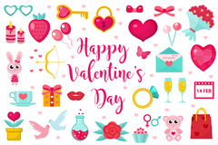 Комплект значка дня валентинок, плоский стиль Символы собрание полюбите, романс и датировка, элемент дизайна, объект изолированны Стоковые Фото