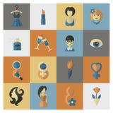 Комплект значка дня женщины Стоковое Изображение