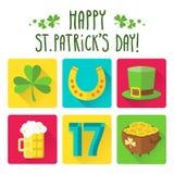 Комплект значка дня St. Patrick в плоском дизайне Стоковые Изображения
