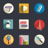 Комплект значка оборудования парикмахерских услуг плоский иллюстрация штока