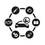 Комплект значка обслуживания автомобиля вектора черный Стоковое Изображение RF