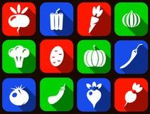 Комплект значка овощей вектора Стоковое Изображение