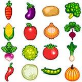 Комплект значка овощей Стоковые Изображения RF