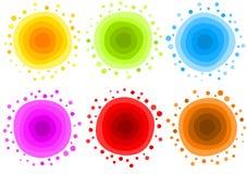 Комплект значка огня глауконита воды Солнця Стоковое Изображение