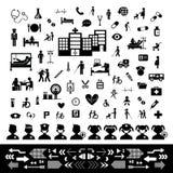 Комплект значка доктора и больницы Стоковая Фотография