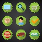 Комплект значка онлайн процесса покупок плоский Стоковая Фотография