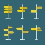 Комплект значка дорожных знаков плоский Стоковые Изображения