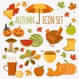 Комплект значка осени благодарение halloween дня Плоский дизайн бесплатная иллюстрация