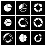 Комплект значка долевой диограммы вектора черный Стоковая Фотография