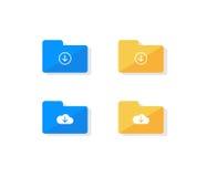 Комплект значка папки хранения облака Стоковые Изображения