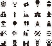 Комплект значка парка атракционов Стоковая Фотография