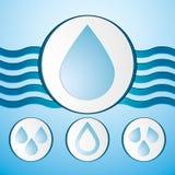 Комплект значка падений воды вектора Стоковая Фотография