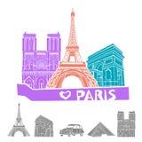 Комплект значка перемещения Парижа вектор Стоковая Фотография