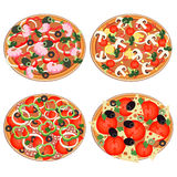 Комплект значка пиццы в плоском стиле Стоковое Фото