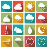 Комплект значка погоды также вектор иллюстрации притяжки corel Стоковое Изображение