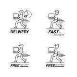 Комплект значка поставки Обслуживание работника доставляющего покупки на дом, заказ, 24 часа, голодает Стоковое Изображение RF