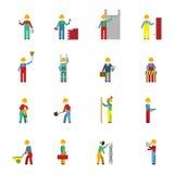 Комплект значка построителей плоский Стоковые Изображения